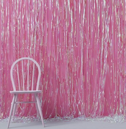 Pink Iridescent Fringe Curtain Party Backdrop
